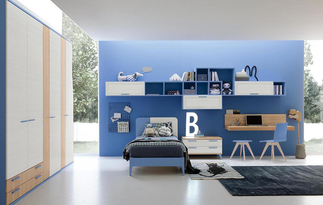 Camera da letto blu stanzetta blu